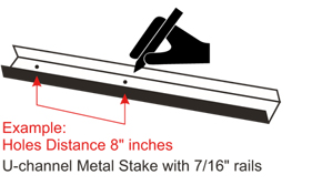 Example: Holes Distance 8 inches U-channel Metal Stake with 7/16 rails